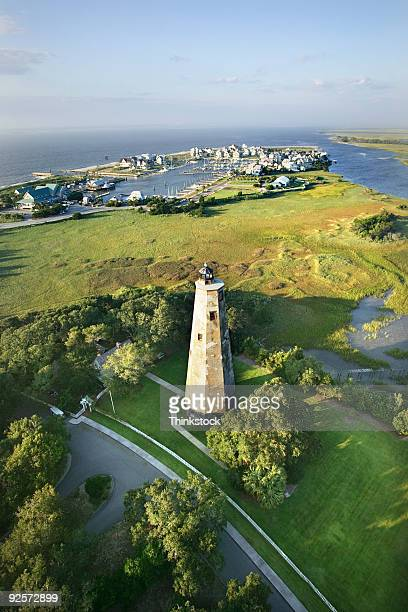 Aerial view of lighthouse, Bald Head Island, North Carolina