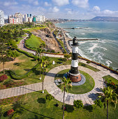 Aerial view of lighthouse of Miraflores, in Lima, Peru. taken with drone.