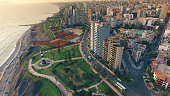 Aerial view of Lima Peru Miraflores cosatline cityscape during the summer