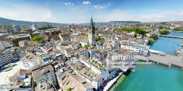 Aerial View of Lindenhof and St. Peter's Church in Zurich