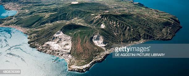 Aerial view of Lipari Island between Lipari and Acquacalda in the Aeolian or Lipari Islands Sicily Region Italy