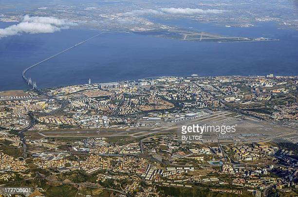 Aerial view of Lisbon airport and city centre