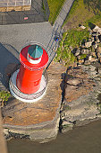Aerial view of Little Red Lighthouse, also called Jeffrey's Hook Lighthouse, 1921, below George Washington Bridge in Ft. Washington Park, New York, NY, U.S.A.