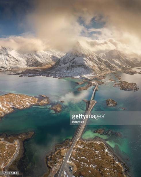 Aerial View of Lofoten Islands in Norway.