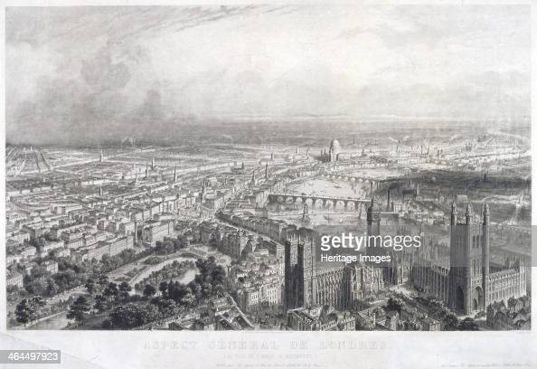 Aerial view of London 1850 View of London looking northeast from Westminster and showing the course of the River Thames in the foreground are...