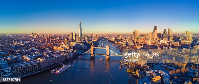 Aerial view of London and the River Thames : Stock Photo
