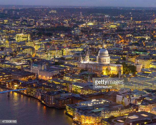Aerial view of London at night, England, UK