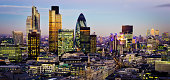 """""""City of London one of the leading centres of global finance.This view includes Tower 42 Gherkin,Willis Building, Stock Exchange Tower and Lloyd`s of London and Canary Wharf at the background."""""""