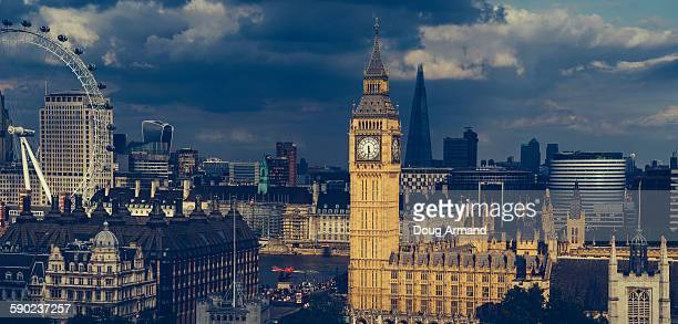 Aerial view of London including Big Ben