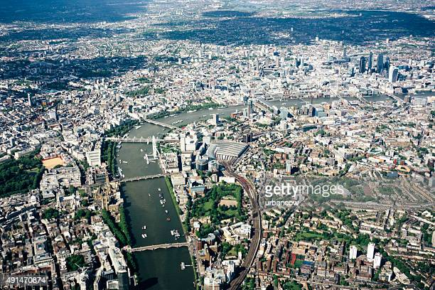 Aerial view of London, River Thames, London to Westminster Bridge