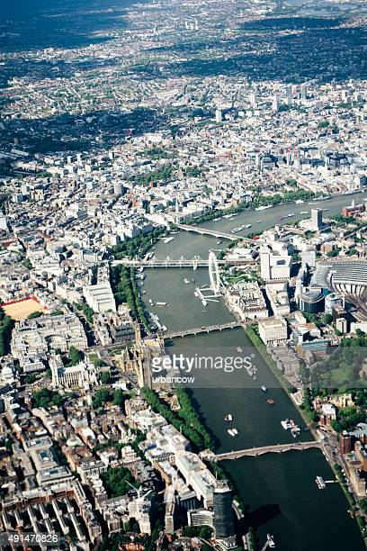 Aerial view of London, River Thames, Waterloo to Lambeth Bridge