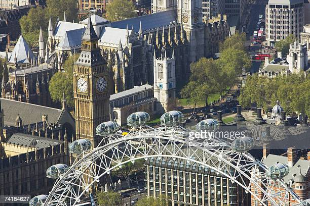 Aerial view of London showing Houses of Parliament and London Eye on the river Thames