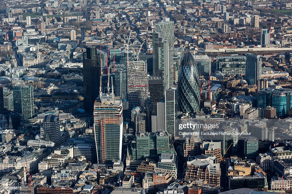 Aerial view of London skyscrapers : Stock Photo