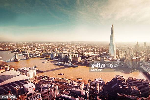 Aerial View of London with the Shard, Retro, Film Grain