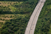 Aerial view of London's M25 highway