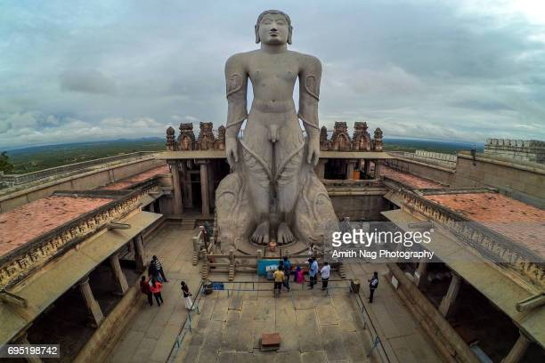 Aerial view of Lord Gommateshwara statue