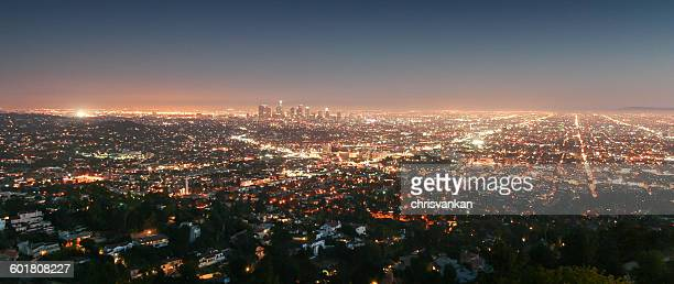 Aerial view of Los Angeles at night, California, America, USA