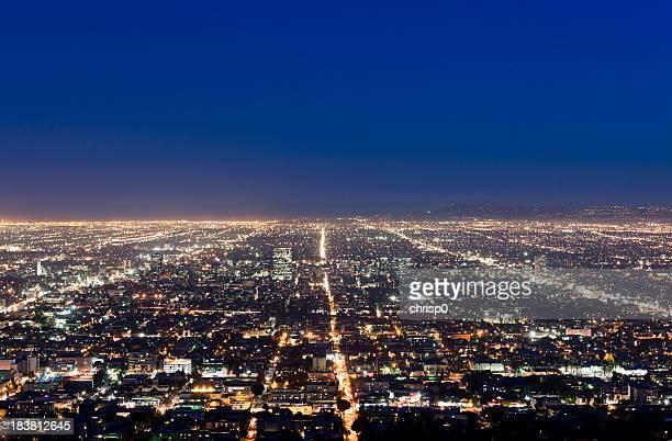 Veduta aerea di Los Angeles al crepuscolo