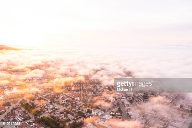 Aerial view of Los Angeles in moody sky at twilight time