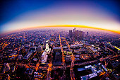 Aerial view of Los Angeles Skyline at sunset from a helicopter