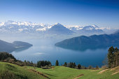 Aerial view of Lucerne lake with Pennine Alps from mount Rigi