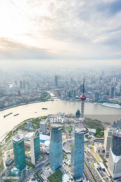 Aerial View of Lujiazui Financial District