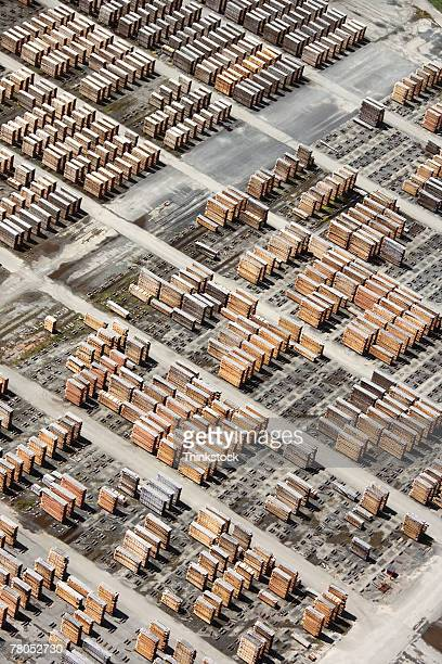Aerial view of lumberyard
