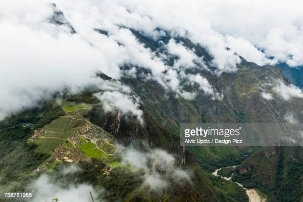 Aerial view of Machu Picchu Citadel with Urubamba River