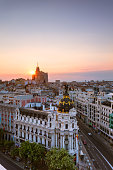 Aerial view of Madrid city at sunset, Spain