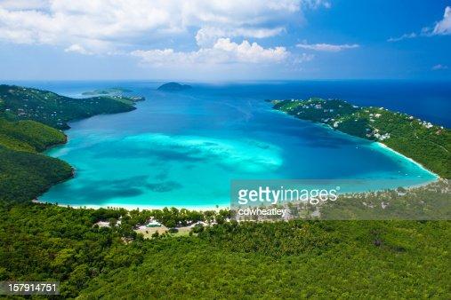aerial view of Magens Bay, Saint Thomas, US Virgin Islands