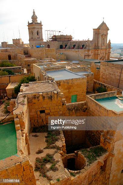Aerial view of Maltese houses.