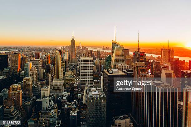 Aerial view of Manhattan at sunset, New York City, USA