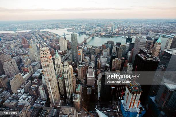 Aerial view of Manhattan Downtown district, New York City, USA