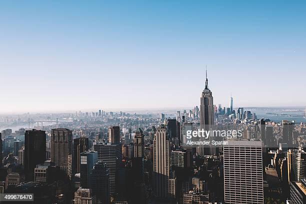 Aerial view of Manhattan skyline, New York City, USA