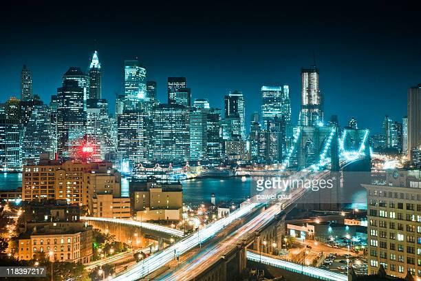 Aerial view of Manhattan skyline with Brooklyn bridge