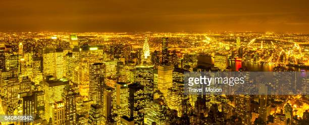 Aerial view of Manhattan skyscrapers at night, New York City