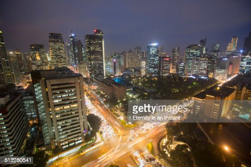 Aerial view of Manila at night, Philippines