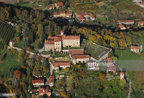 Aerial view of Manta castle, Cuneo, Piedmont