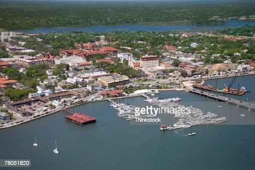 Aerial view of Mantanzas River, St Augustine, Florida