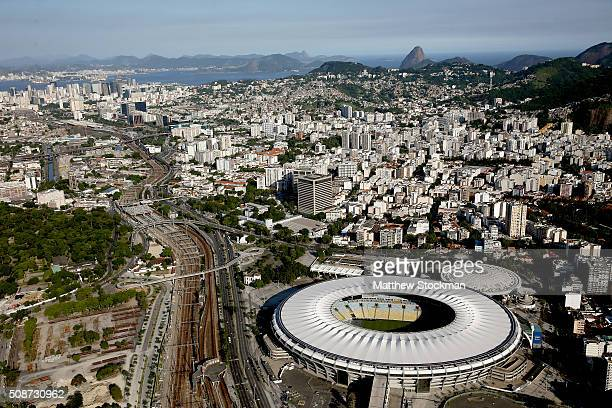 Aerial view of Maracana and Maracanazinho with six months to go to the Rio 2016 Olympic Games on February 5 2016 in Rio de Janeiro Brazil