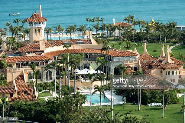 Aerial view of MaraLago the oceanfront estate of billionaire Donald Trump in Palm Beach Fla Trump and Slovenian model Melania Knauss will hold their...