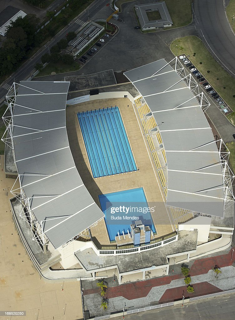 Aerial view of Maria Lenk Aquatic Center that will host water sport events in Rio 2016 Olympic Games on May 10, 2013 in Rio de Janeiro, Brazil.