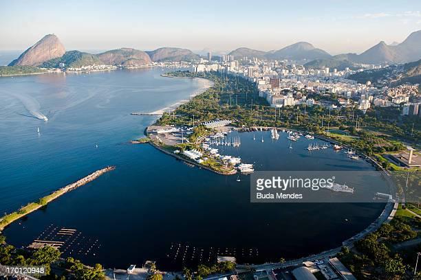 Aerial view of Marina da Gloria and the Sugar Loaf on June 6 2013 in Rio de Janeiro Brazil