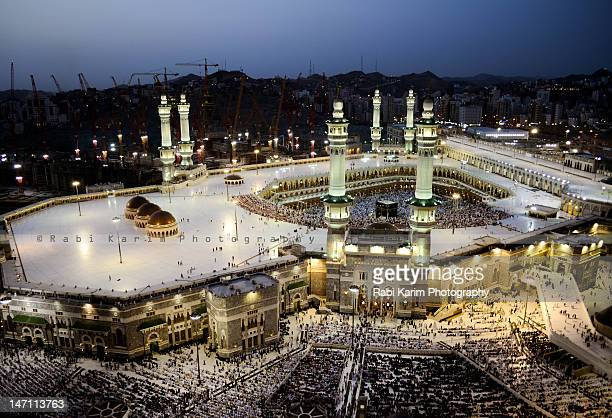 Aerial view of masjid al haram at evening