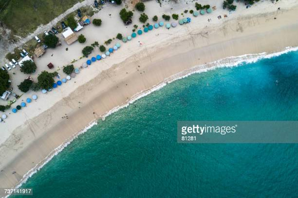 Aerial view of Mawun Beach, Lombok, Indonesia