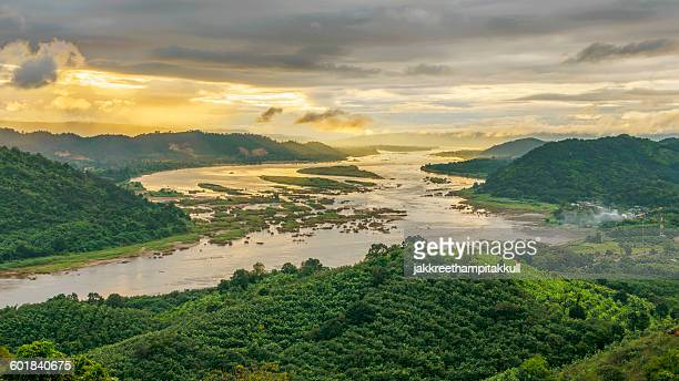 Aerial view of mekong river and forest, Thailand