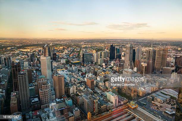 Aerial view of Melbourne at sunset