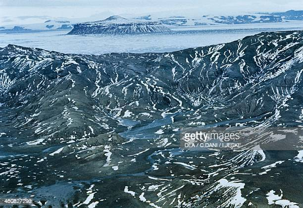Aerial view of melt season in the Antarctic Peninsula Antarctica