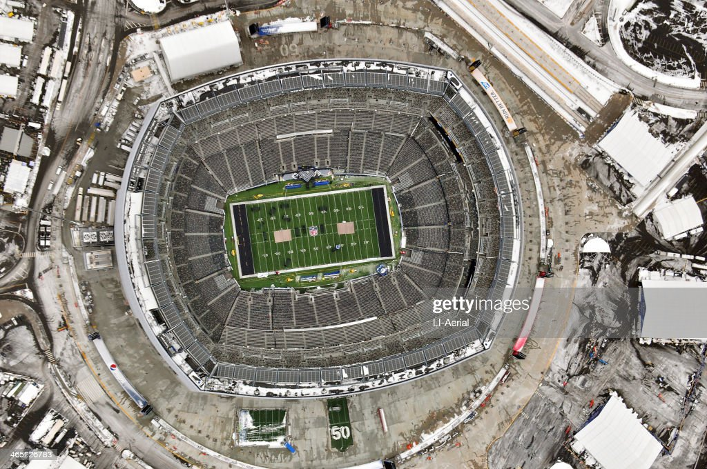 Aerial view of MetLife Stadium as crews prepare the venue for Super Bowl XLVIII January 26 2014 in East Rutherford New Jersey Work crews continue to...