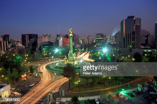 Aerial view of Mexico City at night, Mexico : Foto de stock
